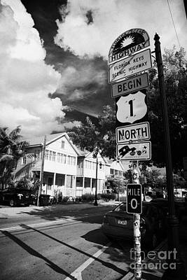 Us Route 1 Mile Marker 0 Start Of The Highway Key West Florida Usa Art Print by Joe Fox
