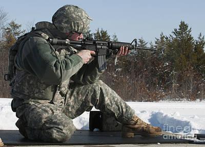 U.s. Soldier Fires His M4a3 Carbine Art Print