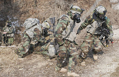 Thomas Kinkade Royalty Free Images - U.s. Soldiers Wear Gas Masks Royalty-Free Image by Stocktrek Images
