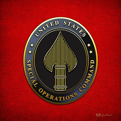 Digital Art - U. S. Special Operations Command - U S S O C O M   Emblem by Serge Averbukh