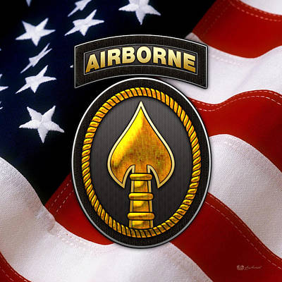 Digital Art - U. S. Special Operations Command -  U S S O C O M Patch Over American Flag by Serge Averbukh
