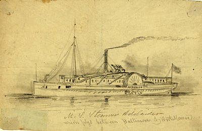 Baltimore Drawing - U.s. Steamer Adelaide, Which Plys Between Baltimore & Fort by Quint Lox