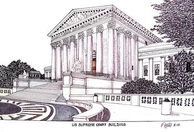 Pen And Ink Historic Buildings Drawings Drawing - Us Supreme Court Building by Frederic Kohli