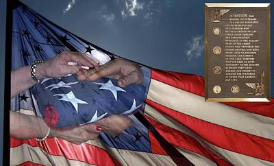 Us Veterans Burial Flag 3 Panel Composite Digital Art Art Print by Thomas Woolworth