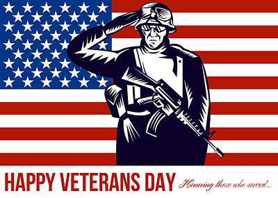 Us Veterans Day Remembrance Greeting Card Art Print by Aloysius Patrimonio