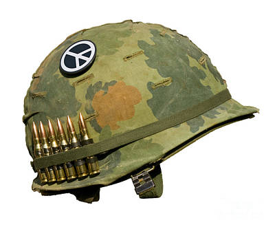 Us Vietnam War Helmet - Peace Button Art Print by Dt
