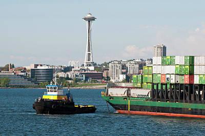 Freighter Photograph - Us, Wa, Seattle, Puget Sound, King by Trish Drury
