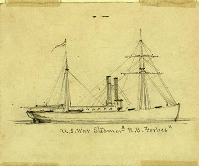 Rhythm And Blues Drawing - U.s. War Steamer R.b. Forbes, Between 1860 And 1865 by Quint Lox