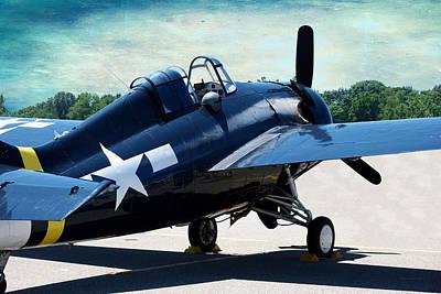 Digital Art - Us Ww II Grumman F4f Wildcat Fighter Plane Textured Sky by Thomas Woolworth