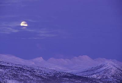 Usa, Alaska, Alaska Range, Full Moon Art Print by Gerry Reynolds