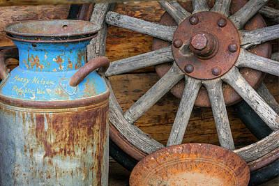 Milk Can Photograph - Usa, Alaska Antique Milk Can, Wagon by Jaynes Gallery