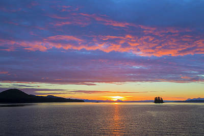 Usa, Alaska Sunset On Flynn Cove Credit Art Print
