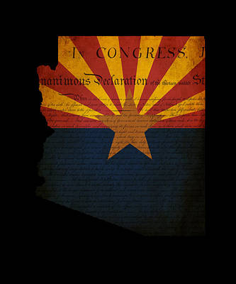 Usa American Arizona State Map Outline With Grunge Effect Flag A Art Print by Matthew Gibson