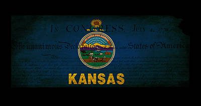 Usa American Kansas State Map Outline With Grunge Effect Flag An Art Print by Matthew Gibson
