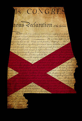 Usa American State Alabama Map Outline With Grunge Effect Flag A Print by Matthew Gibson