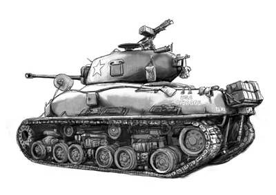 Usa Army Tank In World 2 Drawing Art Poster Art Print