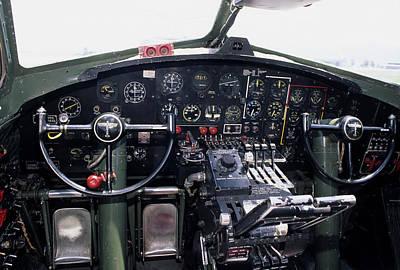 Cockpit Photograph - Usa, B-17 Bomber Aircraft, Cockpit by Gerry Reynolds
