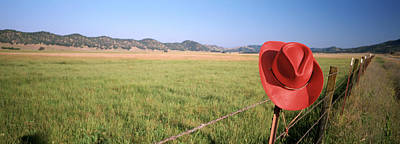 Barbed Wire Fences Photograph - Usa, California, Red Cowboy Hat Hanging by Panoramic Images
