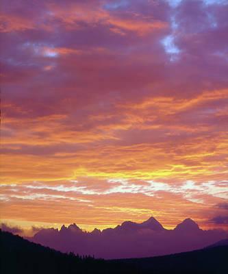 Usa, California, Sunset Over The Sierra Art Print