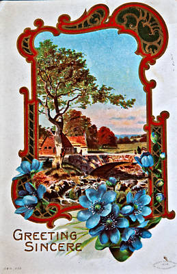 Photograph - Usa - Circa 1900 Vintage Greeting Card by Valerie Garner