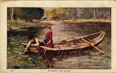 Photograph - Usa - Circa 1910 Vintage Postcard Plucking The Lotus by Valerie Garner