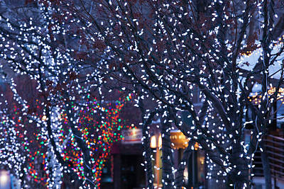 Western Ma Photograph - Usa, Colorado, Aspen, Christmas Lights by Walter Bibikow