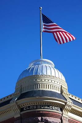 Colorado Flag Photograph - Usa, Colorado, Aspen, Elks Building by Walter Bibikow