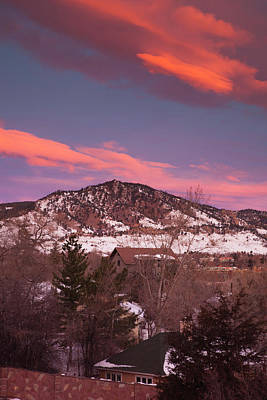 Flagstaff Wall Art - Photograph - Usa, Colorado, Boulder, Winter Sunrise by Walter Bibikow