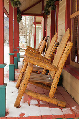 Rocking Chairs Photograph - Usa, Colorado, Crested Butte, Rocking by Walter Bibikow