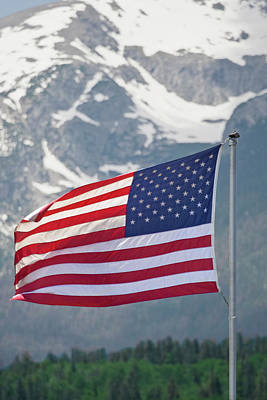 Flagpole Photograph - Usa, Colorado, Silverthorne by Jaynes Gallery