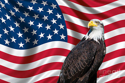 Art Print featuring the photograph Usa Flag And Bald Eagle by Carsten Reisinger