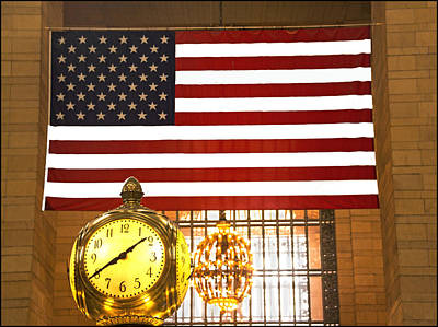Usa Flag In Grand Central Station Original by Allan Einhorn