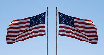 Flagpole Photograph - Usa Flag In Oroville 2013 by James Warren