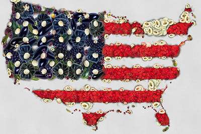 Insignia Painting - Usa Flag Map Fruits And Vegetables Art by Eti Reid