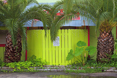 Usa, Florida, Apalachicola, Green Fence Print by Joanne Wells