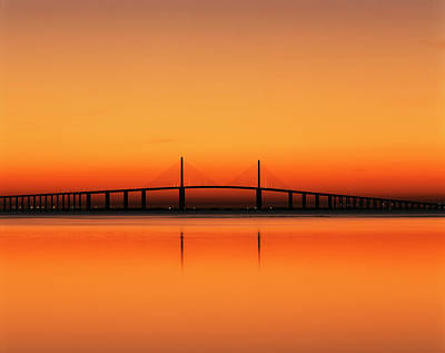 Usa, Florida, Sunshine Skyway Bridge Print by Adam Jones