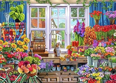 Old Vase Painting - Usa Flower Shoppe by Steve Crisp
