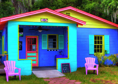 Usa, Georgia, Darien, Colorful Building Print by Joanne Wells