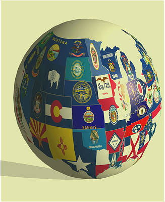 Montana State Map Mixed Media - Usa Globe 2 by Brian Reaves