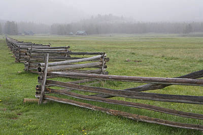Split Rail Fence Photograph - Usa, Idaho, Sawtooth Mountains by Jaynes Gallery