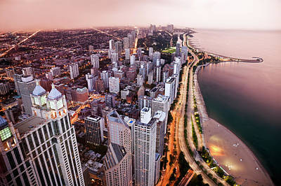 Photograph - Usa, Illinois, Chicago, Aerial View Of by Tetra Images - Henryk Sadura