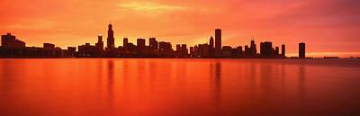 Usa, Illinois, Chicago, Sunset Art Print