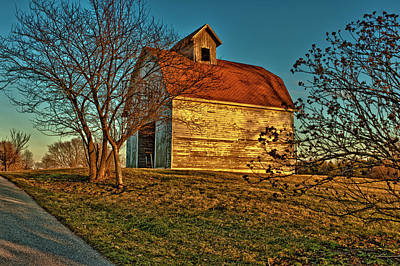Usa, Indiana, Rural Scene Of Red-roofed Art Print by Rona Schwarz