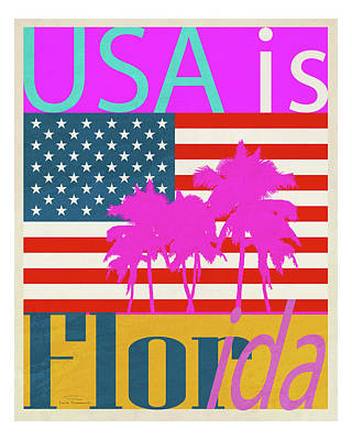 Blue And Red Drawing - Usa Is Florida by Joost Hogervorst