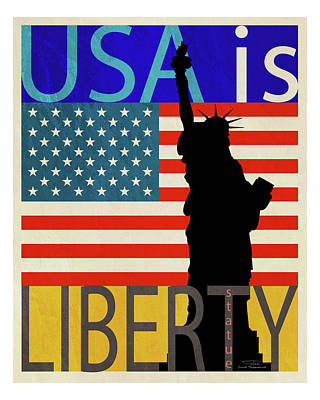 American Flags Drawing - Usa Is Liberty by Joost Hogervorst