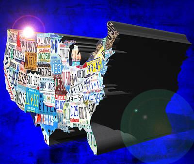 Maine Roads Digital Art - Usa License Plate Art by Brian Reaves