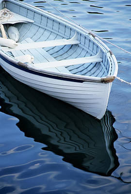 Rockport Photograph - Usa, Maine, Rockport, Dinghy Moored by Ann Collins