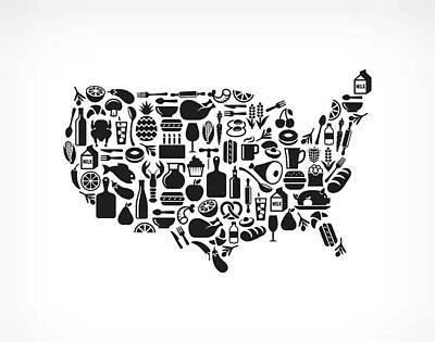 Digital Art - Usa Map Food & Drink Royalty Free by Bubaone