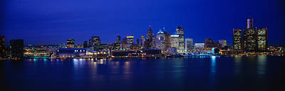Usa, Michigan, Detroit, Night Print by Panoramic Images