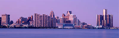 Renaissance Center Photograph - Usa, Michigan, Detroit, Twilight by Panoramic Images